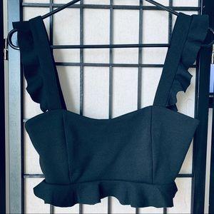 Zara Trafaluc Crop black tank top sz M